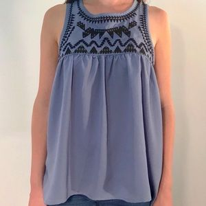 Ocean Blue Embroidery Top
